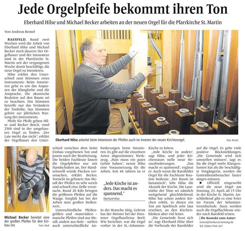 Zeitungsartikel in der Borkener Zeitung vom 22.März 2017